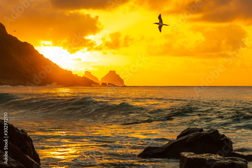 Canvas Prints Honey Stunning sunset in Conceição beach in Fernando de Noronha, a paradisiac tropical island off the coast of Brazil