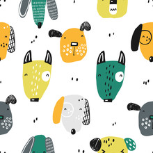Seamless Pattern With Funny Dogs. Perfect For Kids Apparel, Fabric, Textile, Nursery Decoration, Wrapping Paper