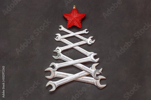 Christmas tree made of tools Canvas