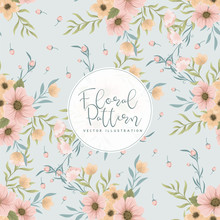 Pink Flowers - Mint Green Background Seamless Pattern