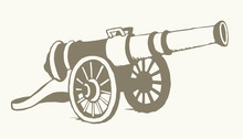 Ancient Iron Cannon. Vector Drawing