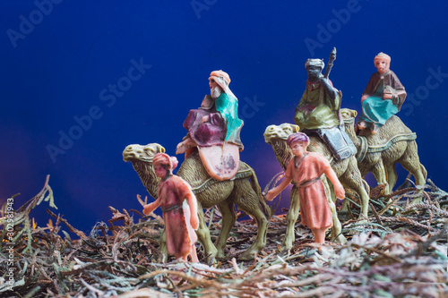 Photo Three Wise Men Camel Travel Desert Bethlehem Concept, three magic kings