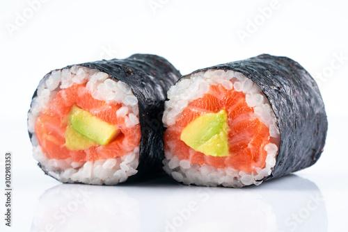 Fotografía  Far east food sushi on white background