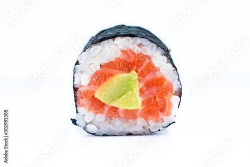 Fotomural  Far east food sushi on white background