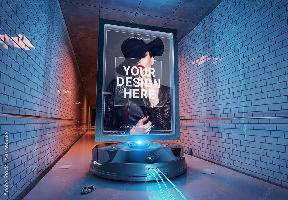 Fototapeta Futuristic Billboard in Tunnel Mockup