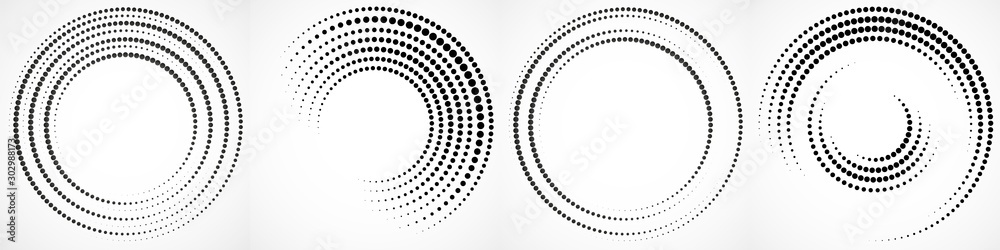 Fototapeta Vector set of halftone dotted background in circle form. Circle dots isolated on the white background