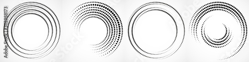Fotomural  Vector set of halftone dotted background in circle form