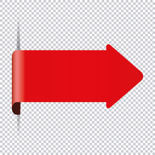 Red Arrow Bookmark Banner For Any Text