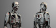 canvas print picture - Two identical and very detailed futuristic robots or humanoid cyborgs standing near each other. Upper body in different angle views. Isolated on gray background. 3d render