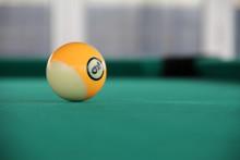 Billiard Balls On Pool Table