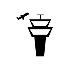 Airfield And Airplane Sign - Black Icons
