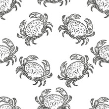 Vector Hand Drawn Seamless Pattern Of Crabs In The Engraving Style On White Background.