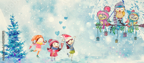 Winter gifts. Watercolor banner for children
