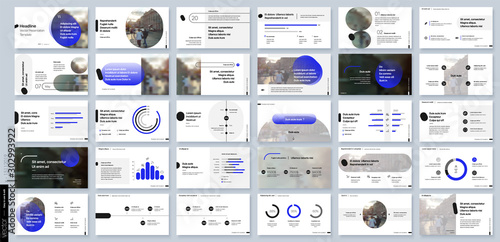 Blue presentation templates elements on a white background Fototapet