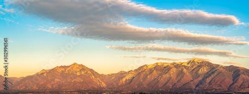 Foto auf Gartenposter Beige Panorama view of Mount Timpanogos at sunset