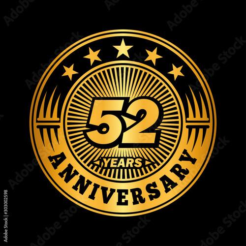 Fotomural 52 years anniversary celebration logo design