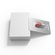 Blister with single tablet. One pill mockup. Pharmacy template. Drug pill. Medical package isolated on white.