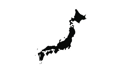 japan vector map in solid style