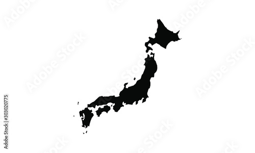 Photo japan vector map in solid style