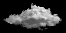 White Cloud Isolated On Black Background ,Textured Smoke ,brush Effect
