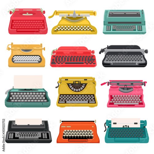 Leinwand Poster Typewriter vector old vintage keyboard machine, retro type-writer for writing and typing