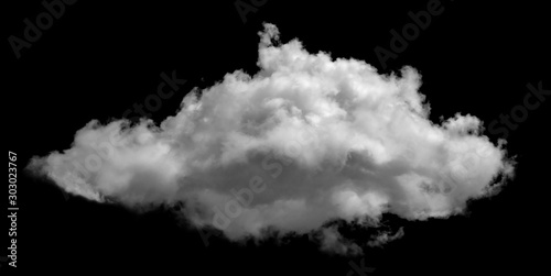 Fotografie, Tablou White cloud isolated on black background ,Textured smoke ,brush effect