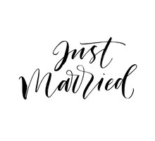 Just Married Postcard. Hand Dr...