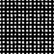 Grunge Grid Vector Seamless Pattern. Black Crossing Lines And Stripes. Messy Striped Endless Ornament