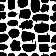 Speech Bubble Vector Seamless Pattern. Hand Drawn Set Of Black And White Comic Elements.