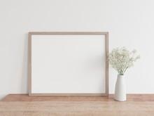 Horizontal Wooden Frame Mock Up With White Plants. White Flower Mock Up Frame 3D Illustrations.