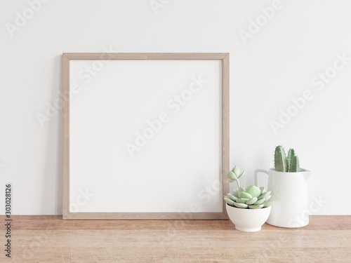 Square wooden frame mock up with green cactus. 3D illustrations. - 303028126