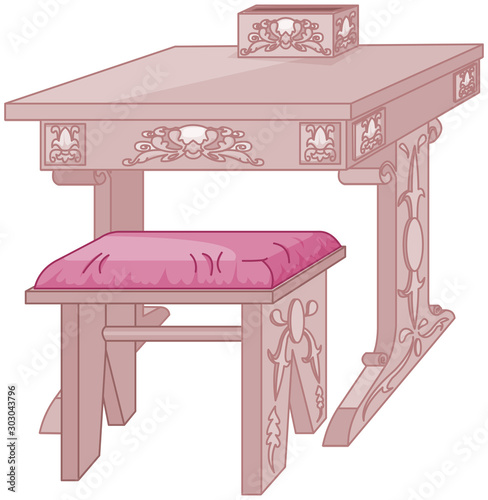 Poster de jardin Magie Princess Student Desk and Chair