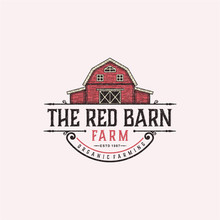 The Red Barn Badge Logo Design Inspiration For Farm. Barn Logo Design. Vector Barn