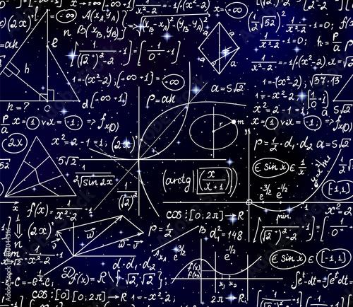 Photo Space scientific vector seamless pattern with handwritten mathematical formulas,