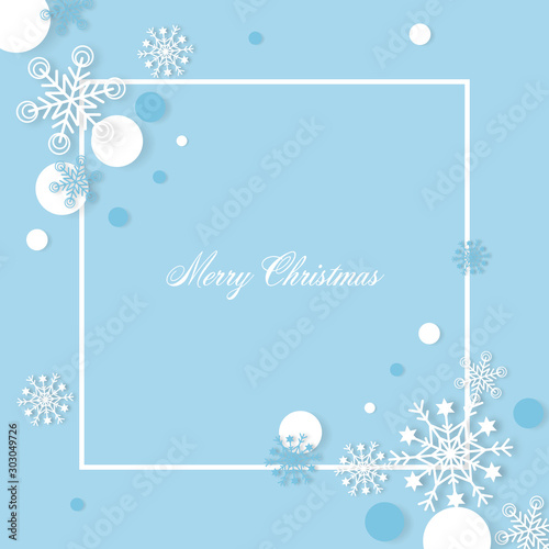 Snowflakes christmas background with free text spaec paper cut style - Vector illustration. Wall mural
