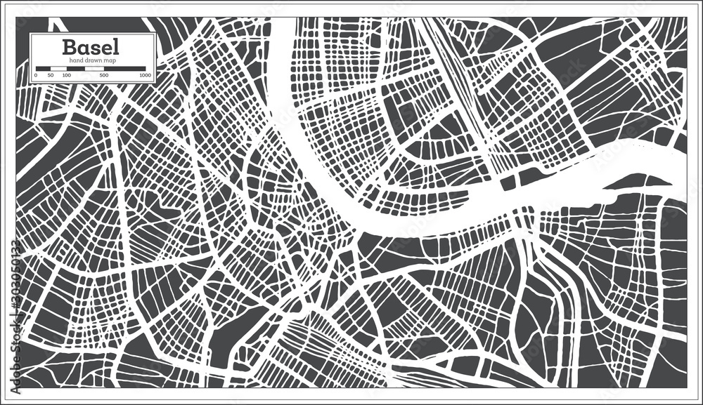 Basel Switzerland City Map in Retro Style. Outline Map.