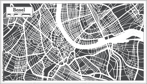 Basel Switzerland City Map in Retro Style. Outline Map. Wallpaper Mural