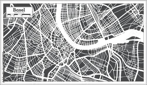 Fototapeta Basel Switzerland City Map in Retro Style. Outline Map.