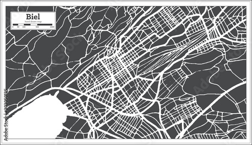 Fotografie, Obraz Biel Switzerland City Map in Retro Style. Outline Map.
