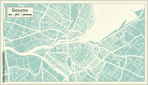 Geneva Switzerland City Map in Retro Style. Outline Map. Fototapet