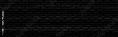 Abstract black brick wall texture for background or wallpaper design. panorama picture. - 303051351