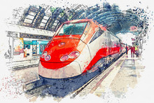 Illustration Or Watercolor Sketch Of A Modern Train At A Railway Station Or At A Subway Station.