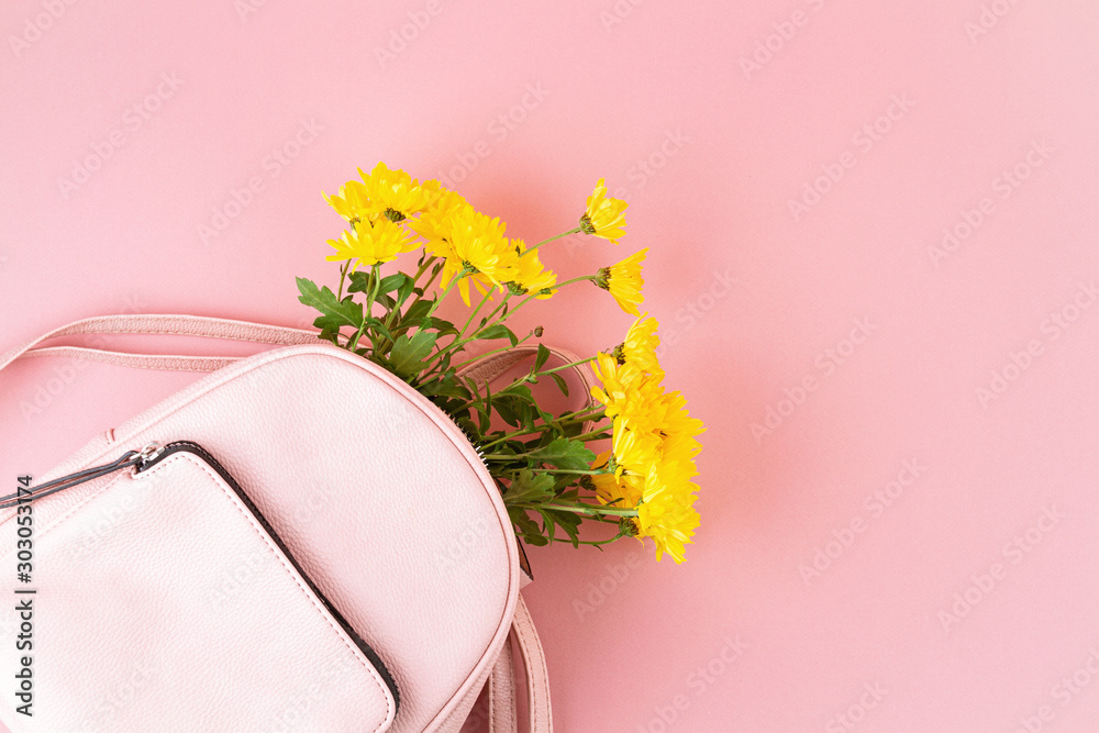 Fototapety, obrazy: Beautiful girls bag with flowers. Female urban fashion, shopping, gfit ideas, spring and summer style