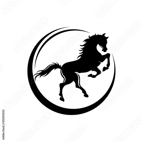 Photo rearing up mustang - standing horse side view black vector silhouette design