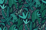 Exotic and tropical leafs plants pattern in hand-drawn style. Seamless floral print. Creative Botanical design with green jungle leaves on dark background. Vector illustration.