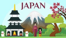 Japan Tourism And Travel Concept Vector Illustration. Japanese Landmarks, Attraction And Symbols. Mount Fudjiyama, Sakura, Pagoda, Maneki Neko, Darumi, Kimono.