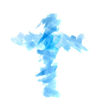 Abstract Watercolor Brush Illustration On White Background. Watercolor Blue Cross To Design And Decoration Backgrounds Banners Hand Paint On Paper