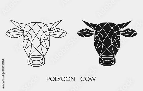 Obraz na plátně Geometric polygonal cow