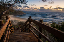 Wooden Stairs Leading To The Beach