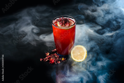 Recess Fitting Alcohol Hibiscus cocktail on black background